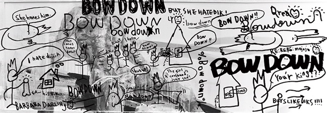 """EXHIBITION """"BOW DOWN"""" by Ly, RE:RE:RE:mojojo, DEAD KEBAB, BARBARA DARLINg"""