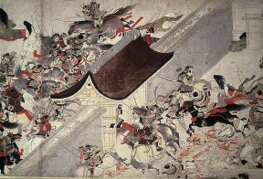 Artist-not-recorded-Night-Attack-on-the-Sanjo-Palace,-from-the-Illustrated-painting-artwork-print